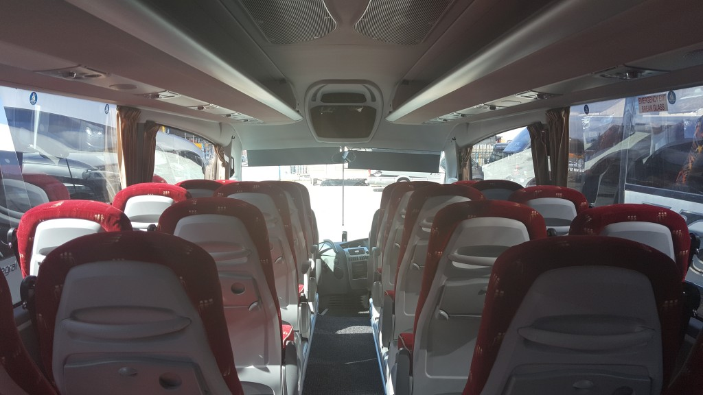 Inside of a Coach Hire Vehicle
