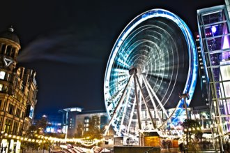 wheel at manchester at night